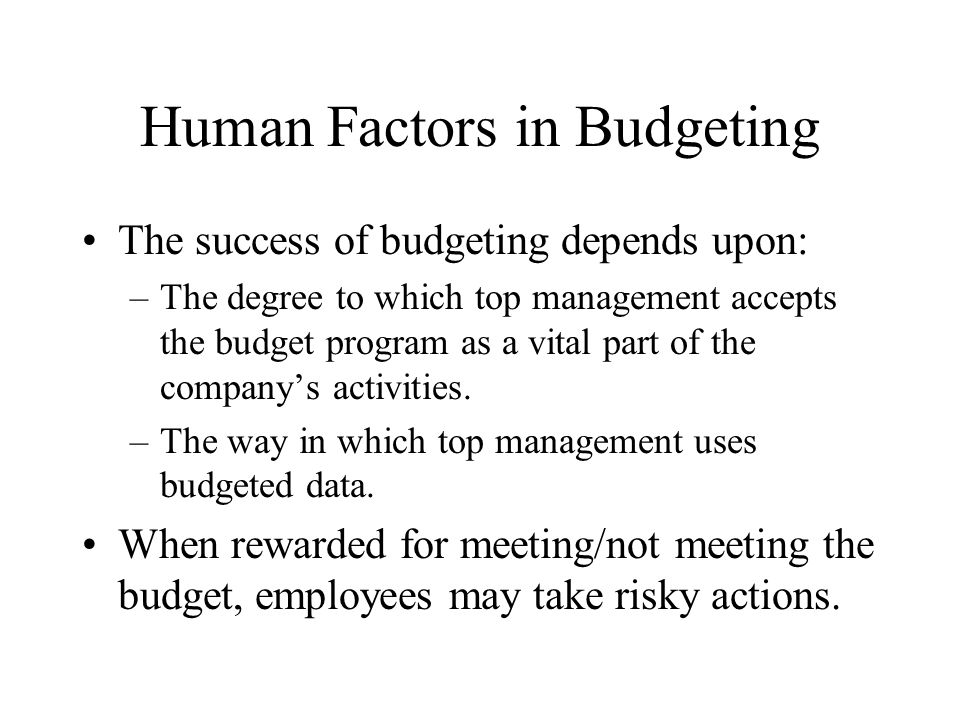 Human Factors in Budgeting