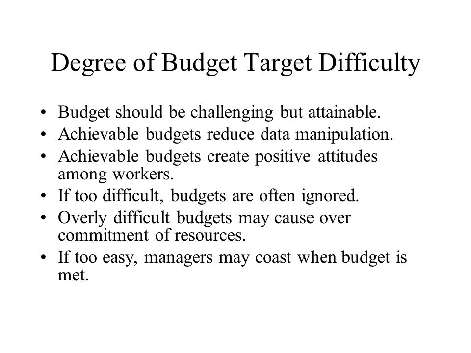 Degree of Budget Target Difficulty