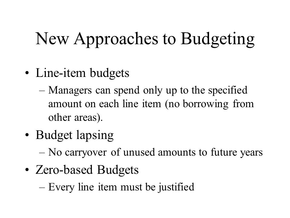 New Approaches to Budgeting
