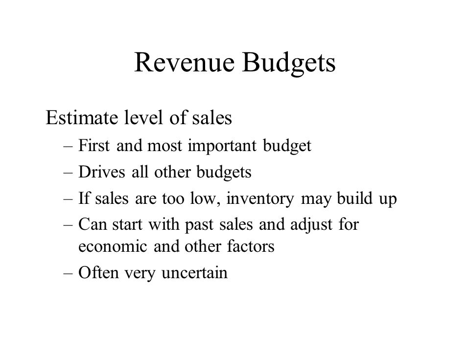 Revenue Budgets Estimate level of sales