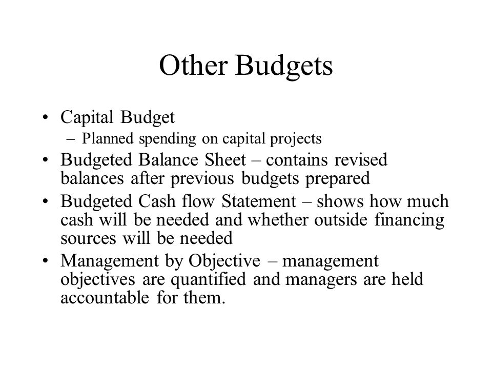 Other Budgets Capital Budget