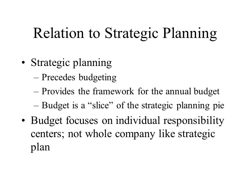Relation to Strategic Planning