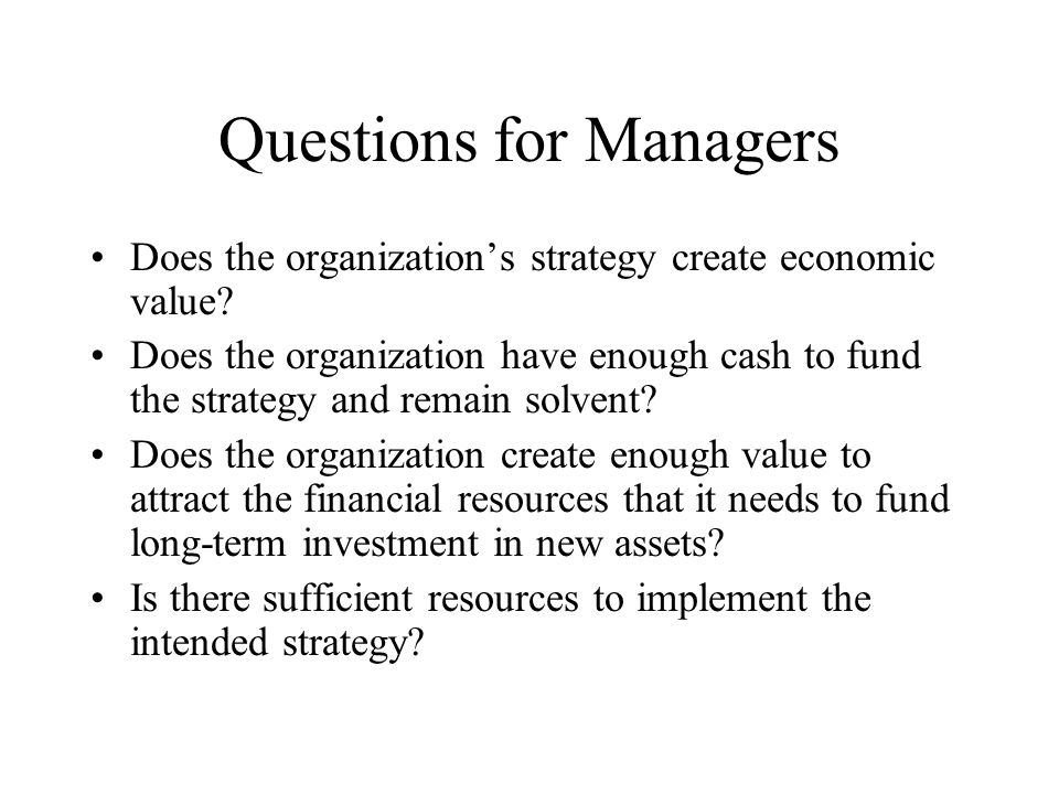 Questions for Managers
