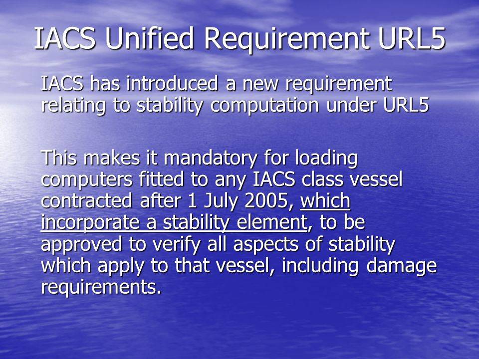 IACS Unified Requirement URL5