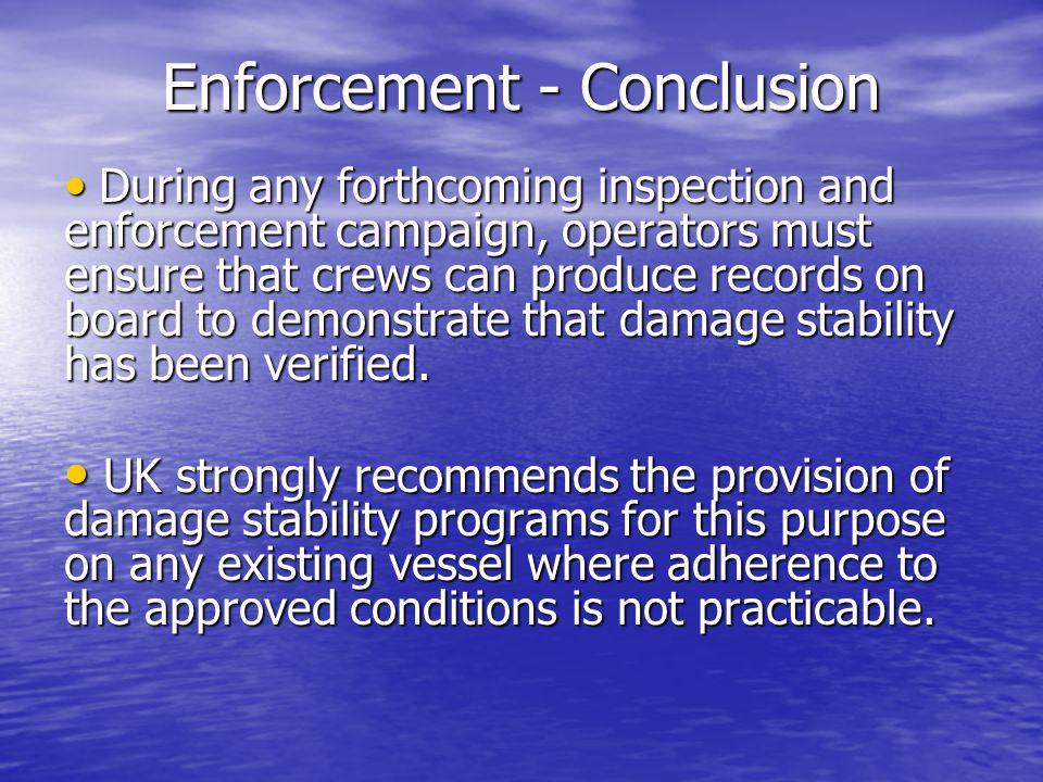 Enforcement - Conclusion