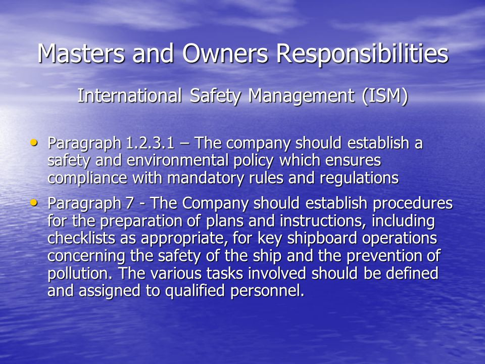 Masters and Owners Responsibilities