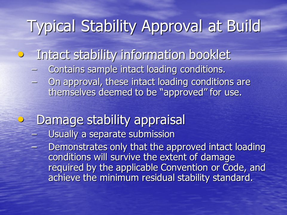 Typical Stability Approval at Build