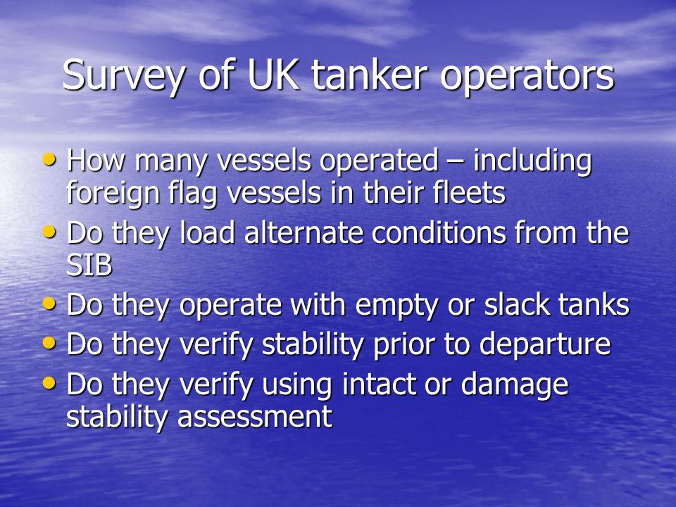 Survey of UK tanker operators