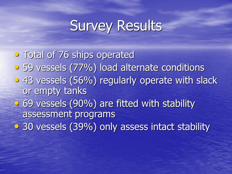 Survey Results Total of 76 ships operated