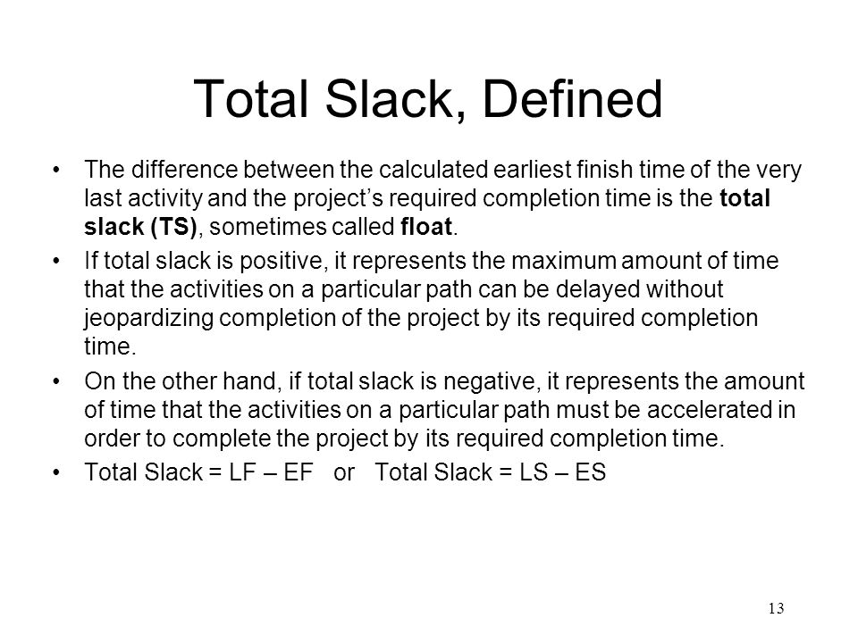 Total Slack, Defined