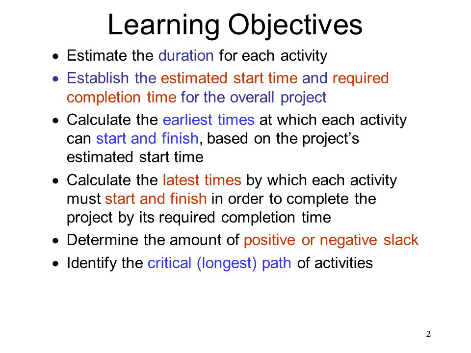 Learning Objectives Estimate the duration for each activity
