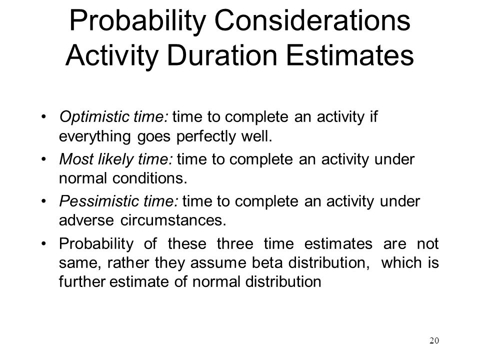 Probability Considerations Activity Duration Estimates