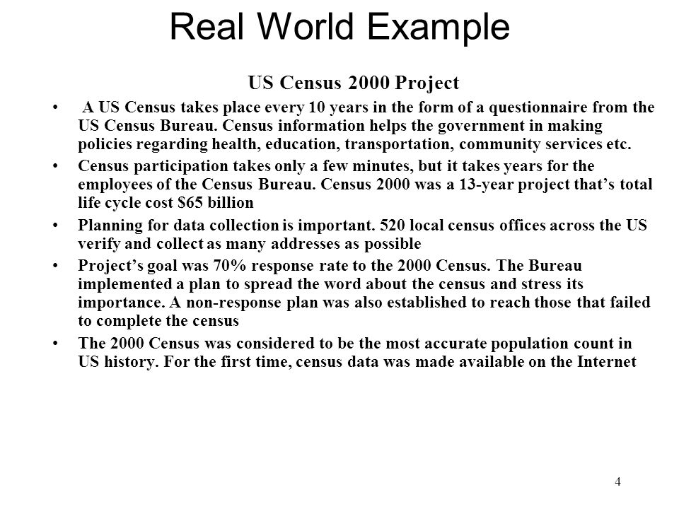 Real World Example US Census 2000 Project