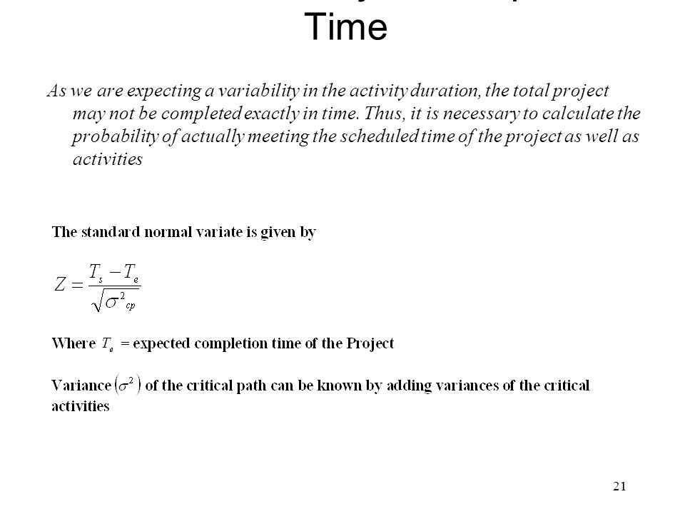 Estimation of Project Completion Time