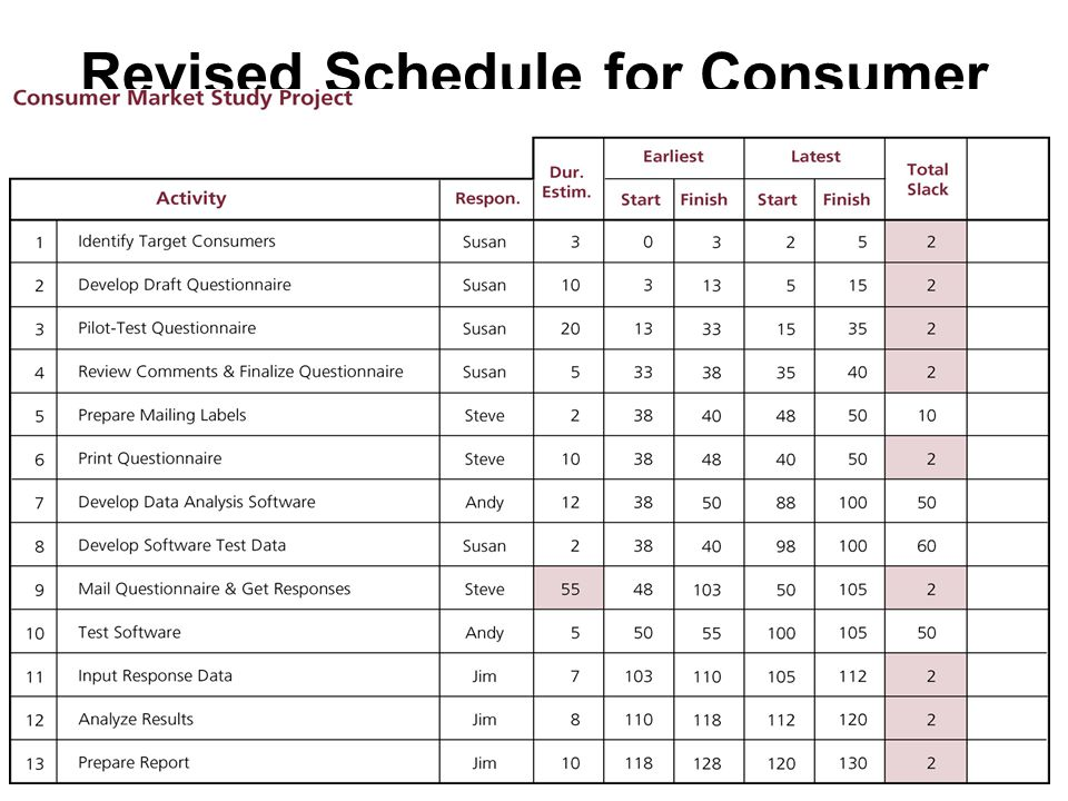 Revised Schedule for Consumer Market Study Project