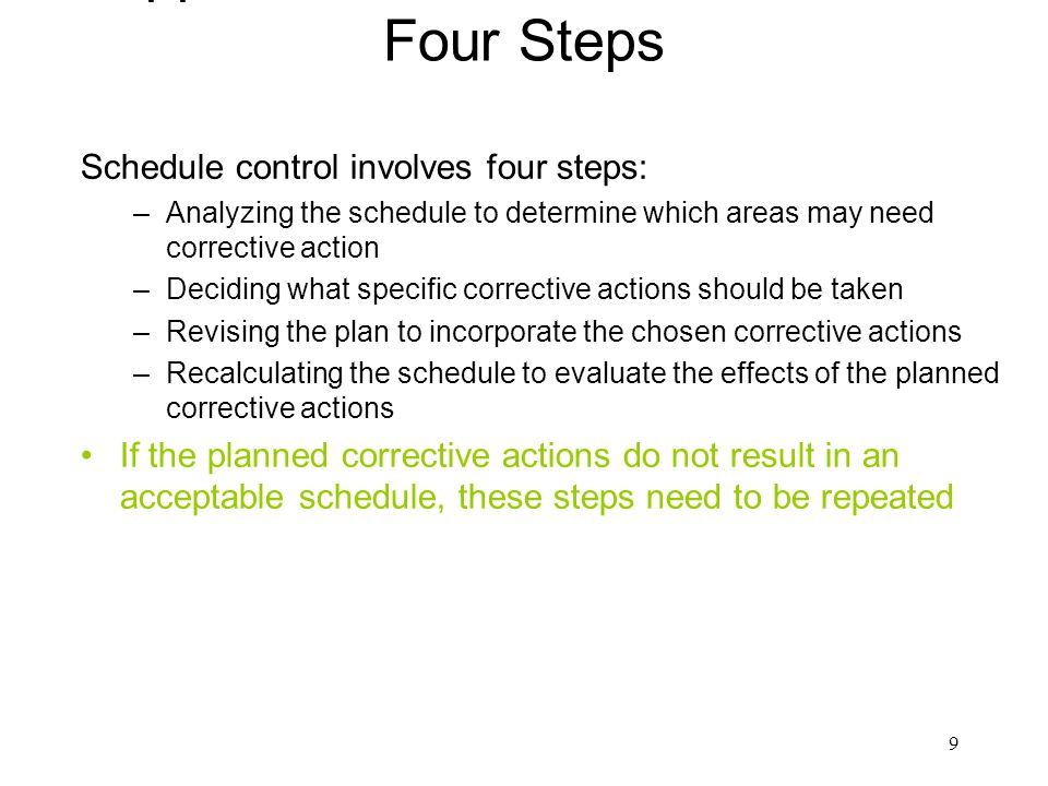 Approaches to Schedule Control Four Steps