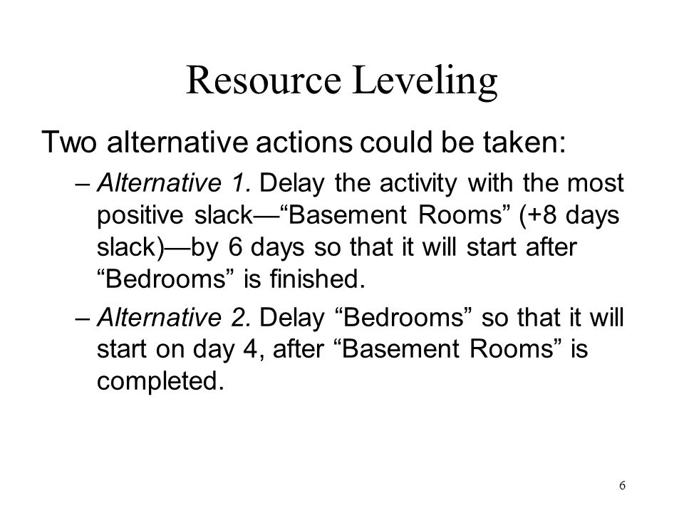 Resource Leveling Two alternative actions could be taken: