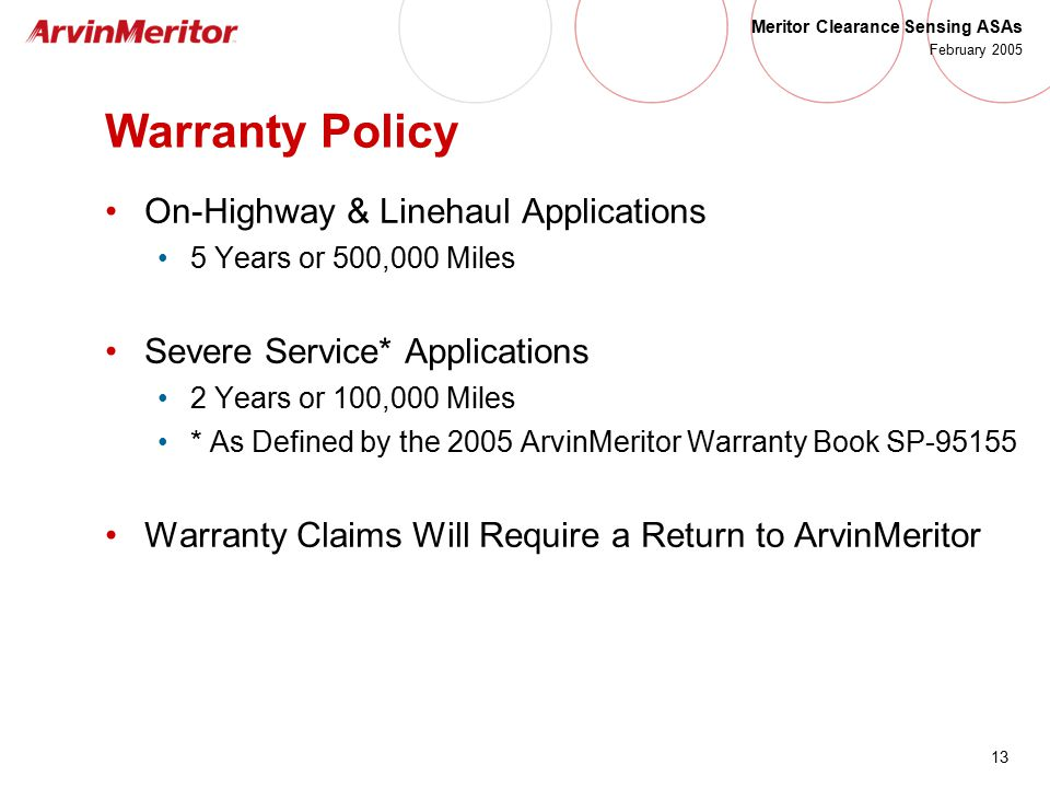 Warranty Policy On-Highway & Linehaul Applications
