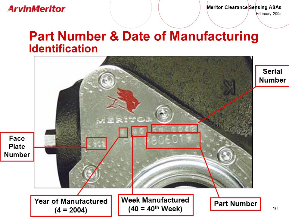 Part Number & Date of Manufacturing Identification