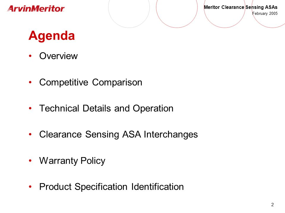 Agenda Overview Competitive Comparison Technical Details and Operation