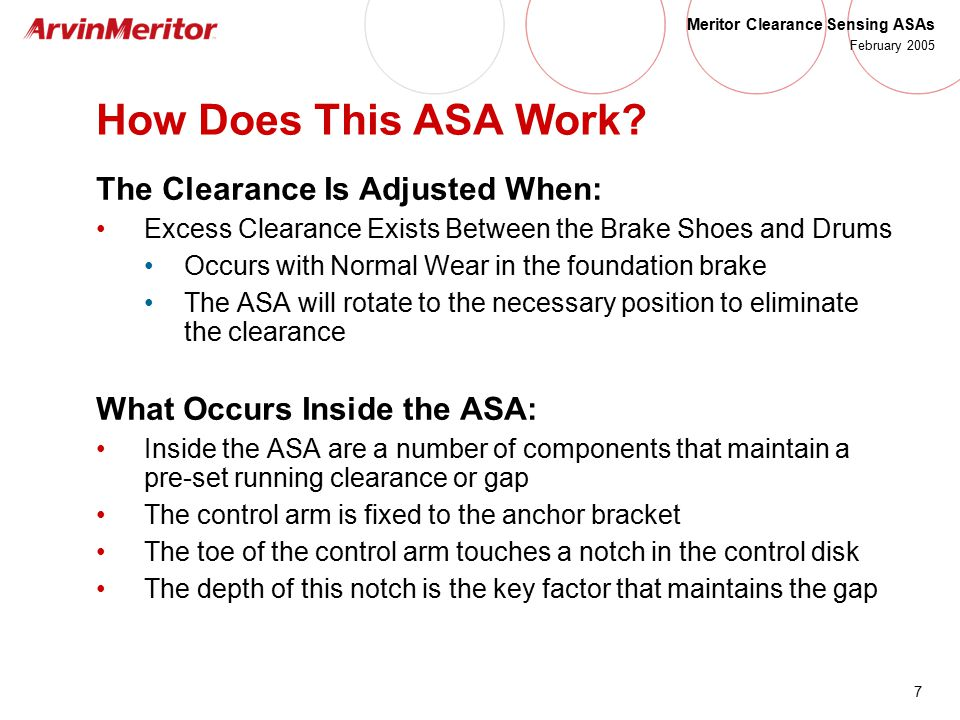 How Does This ASA Work The Clearance Is Adjusted When: