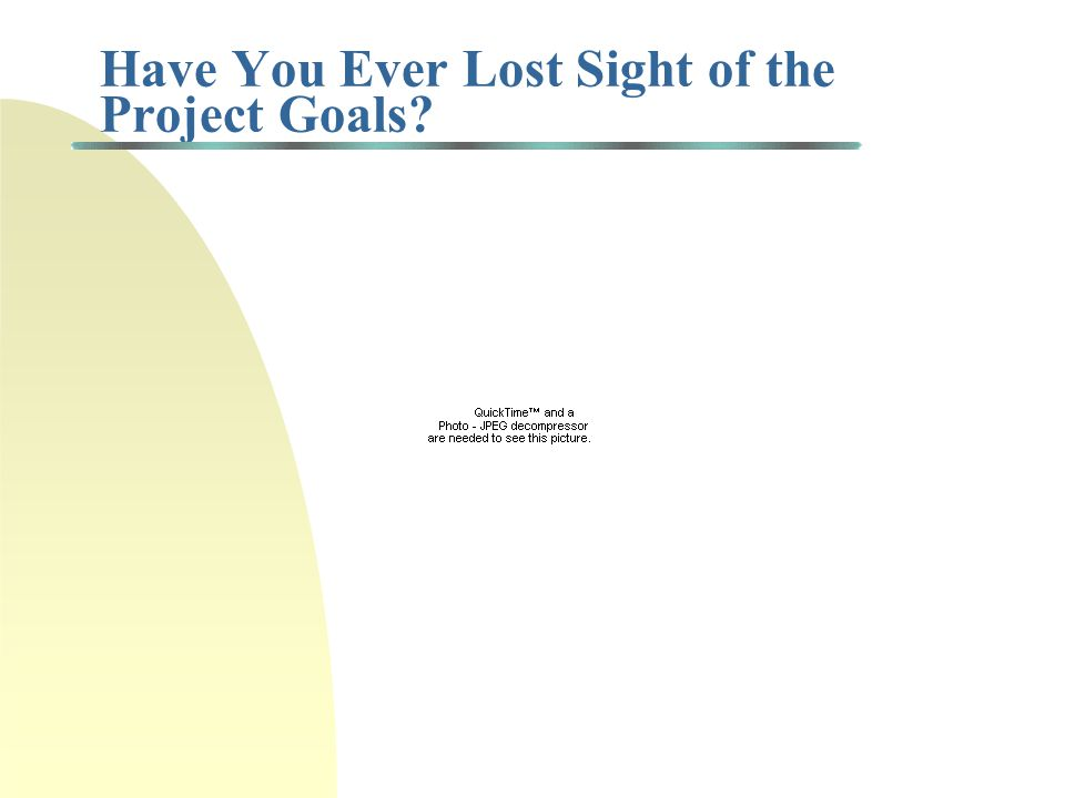 Have You Ever Lost Sight of the Project Goals