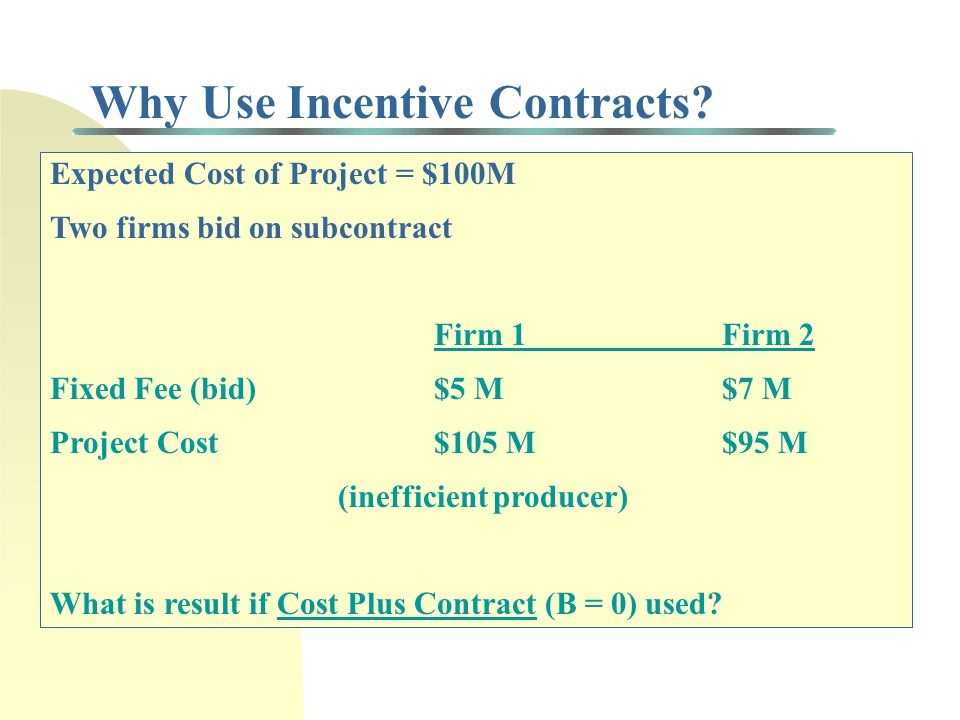 Why Use Incentive Contracts