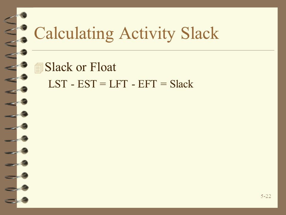 Calculating Activity Slack