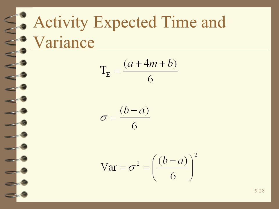 Activity Expected Time and Variance