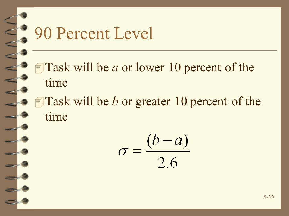 90 Percent Level Task will be a or lower 10 percent of the time