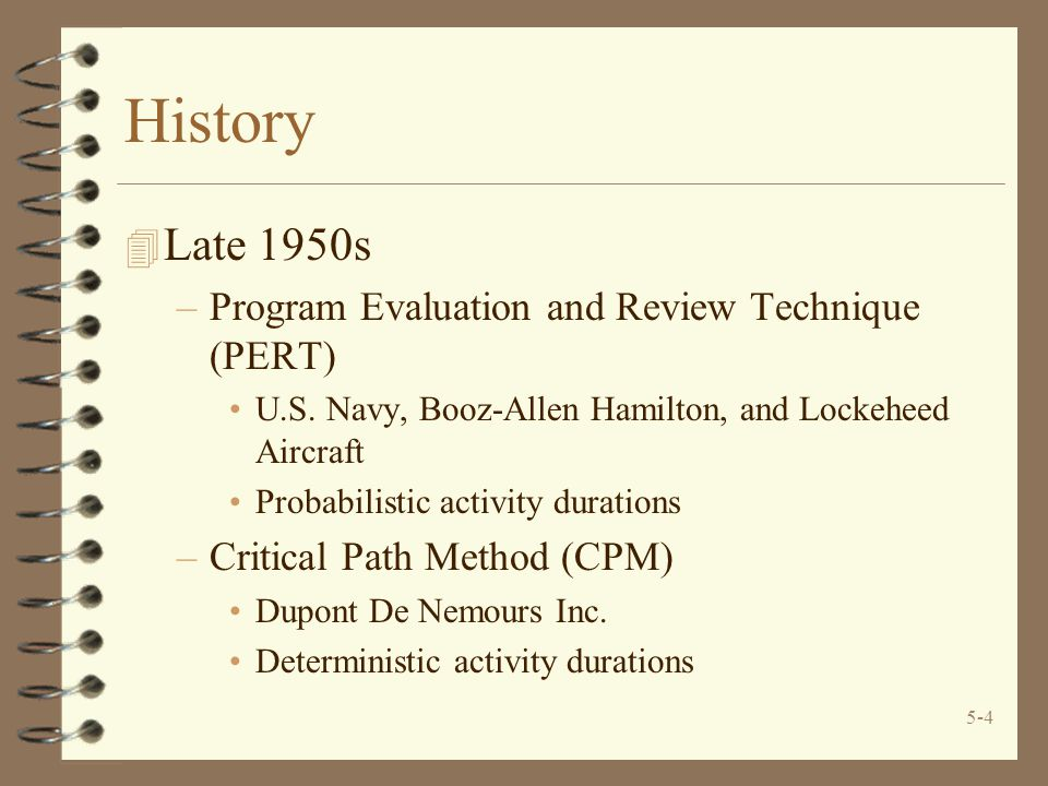 History Late 1950s Program Evaluation and Review Technique (PERT)