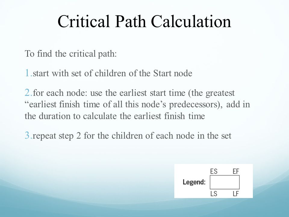 Critical Path Calculation