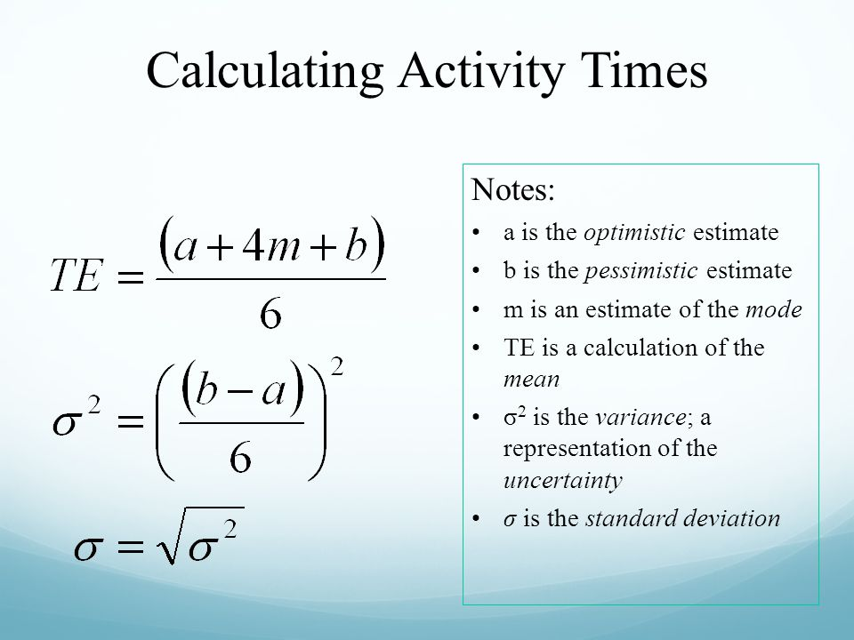 Calculating Activity Times