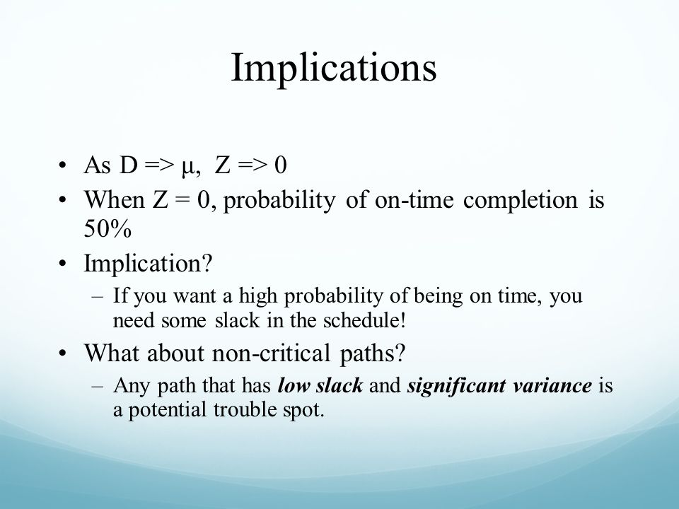 Implications As D => μ, Z => 0
