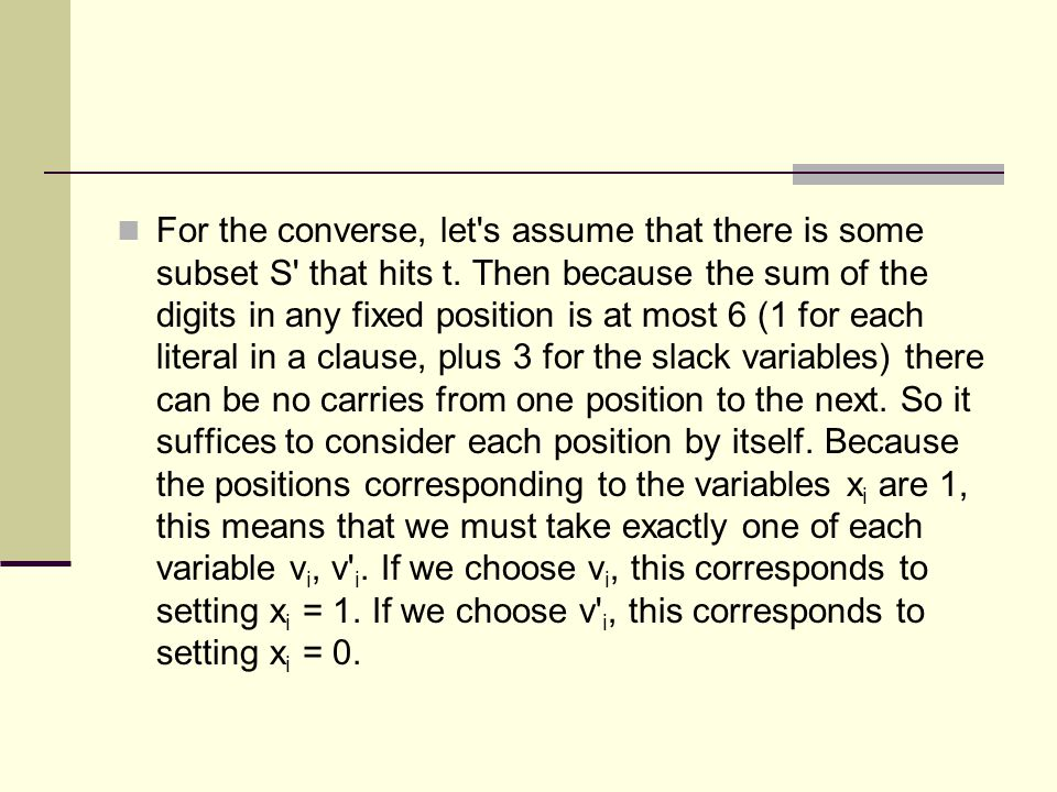 For the converse, let s assume that there is some subset S that hits t.