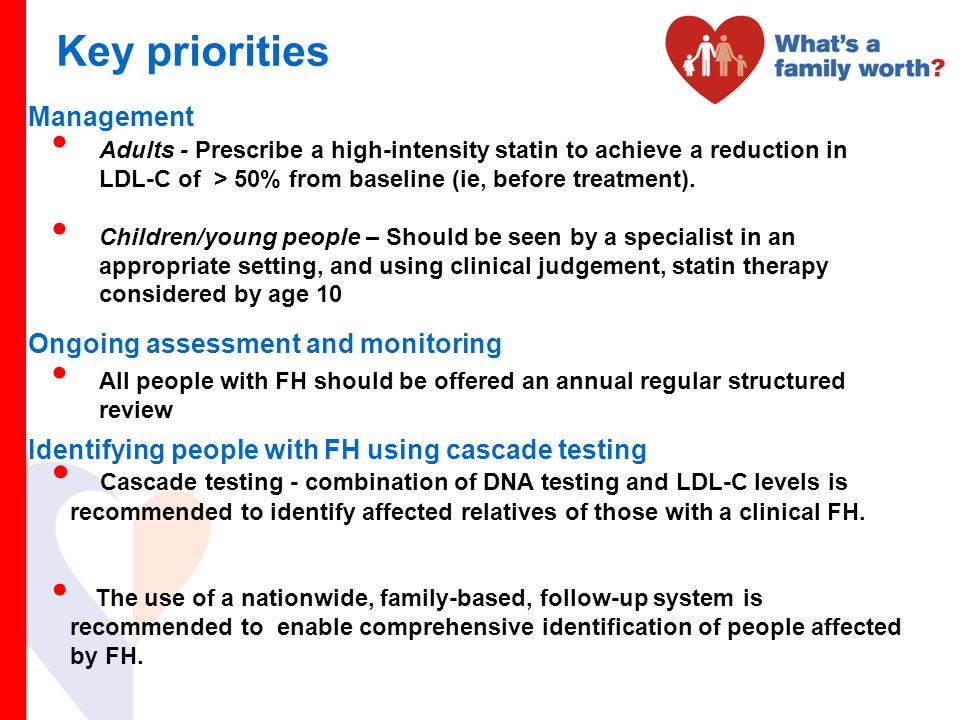 Key priorities Management Ongoing assessment and monitoring