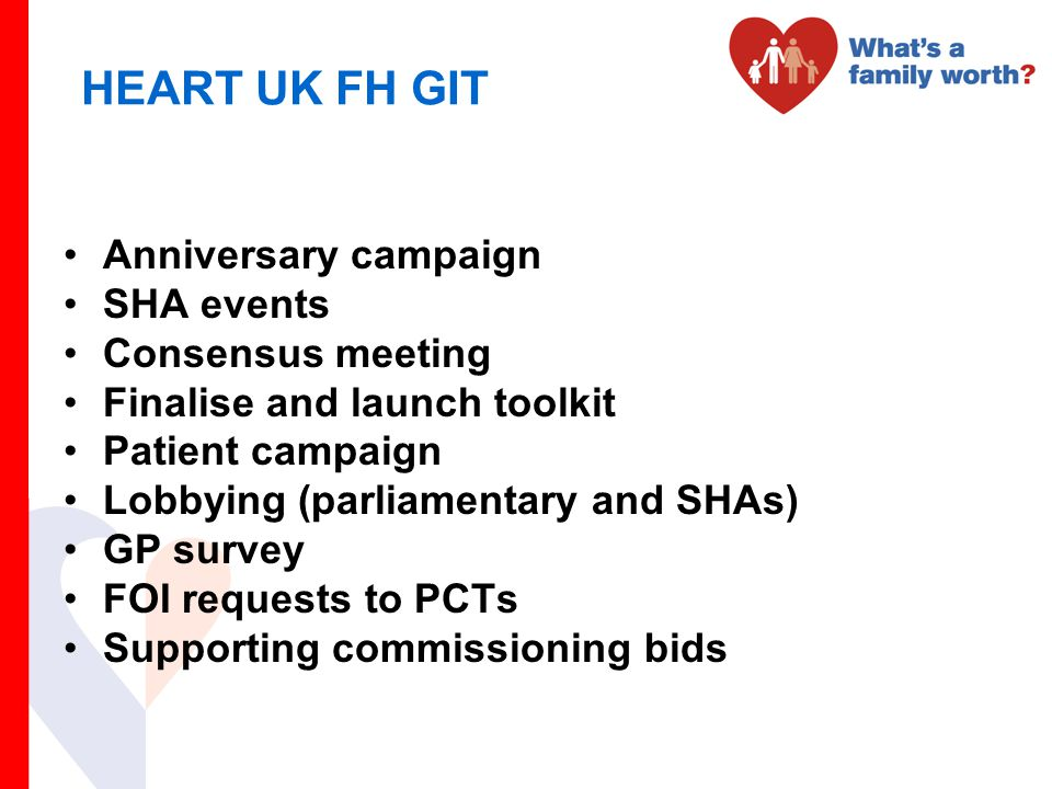 HEART UK FH GIT Anniversary campaign SHA events Consensus meeting