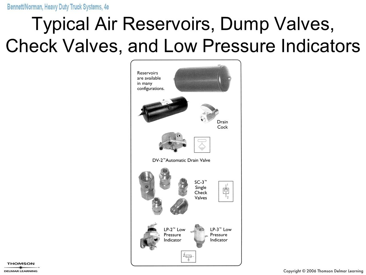 Typical Air Reservoirs, Dump Valves, Check Valves, and Low Pressure Indicators