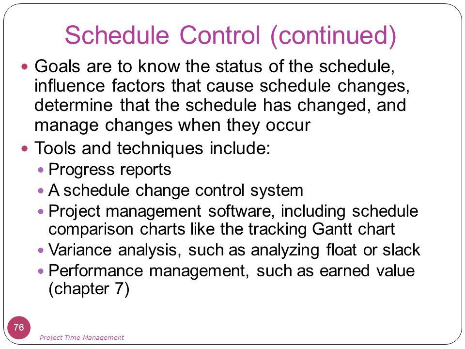 Schedule Control (continued)