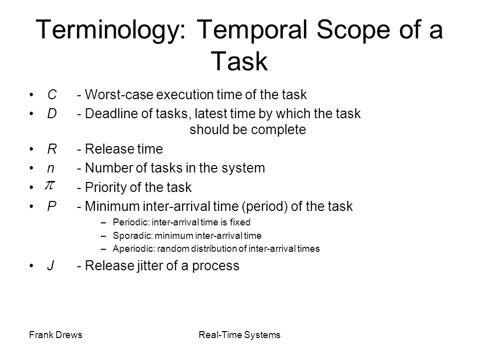Terminology: Temporal Scope of a Task