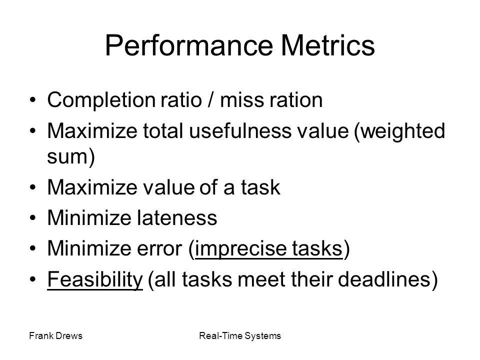 Performance Metrics Completion ratio / miss ration