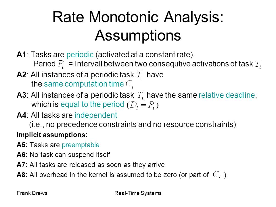 Rate Monotonic Analysis: Assumptions