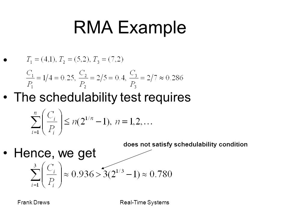 RMA Example The schedulability test requires Hence, we get