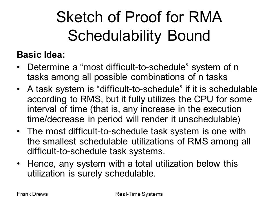 Sketch of Proof for RMA Schedulability Bound