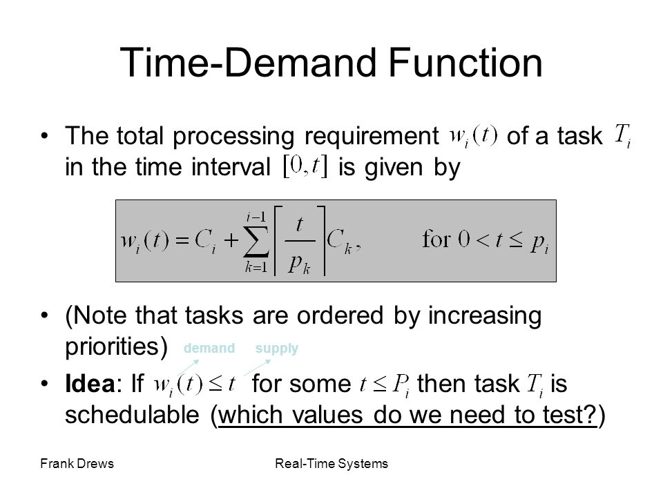 Time-Demand Function The total processing requirement of a task in the time interval is given by.