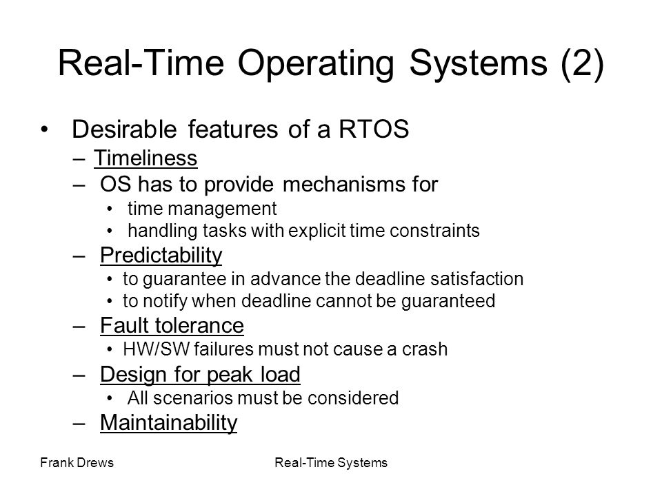 Real-Time Operating Systems (2)