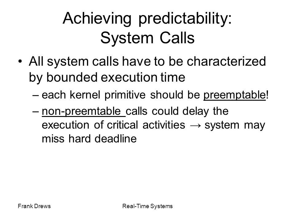 Achieving predictability: System Calls