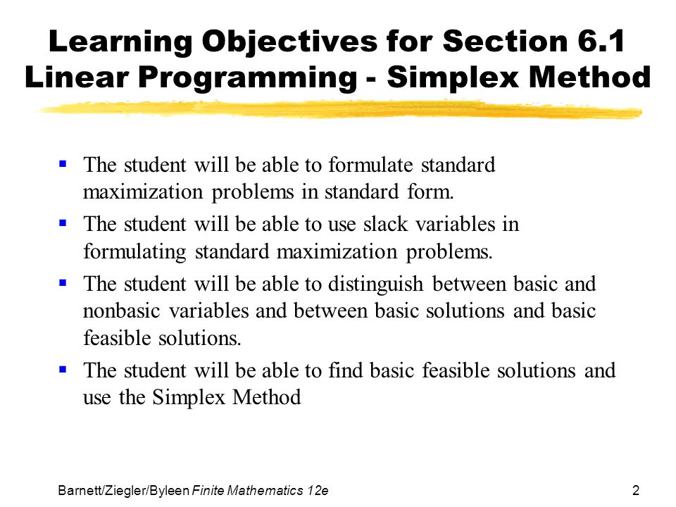 Learning Objectives for Section 6