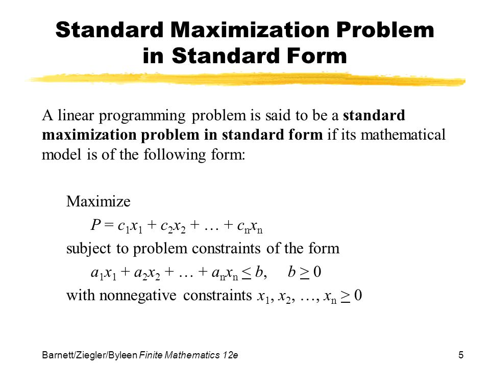 maximization problem Mat131 lab 7 optimization problems objectives learn how to solve optimization problems using excel the process for solving an optimization problem in excel is very similar to the process used to solve a system of linear equations back in lab 4.