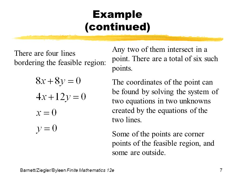 Example (continued) Any two of them intersect in a point. There are a total of six such points.